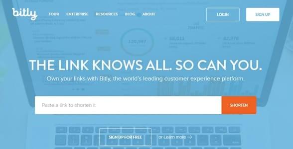 Screenshot of Bitly's homepage