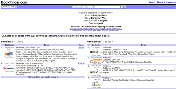 Screenshot of BookFinder's signed book search results