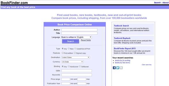 Screenshot of BookFinder's homepage