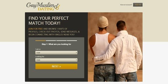 Screenshot of GayMuslimDating's homepage