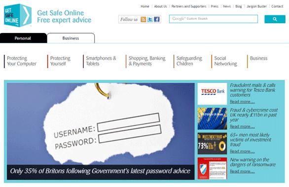 Screenshot of the Get Safe Online homepage
