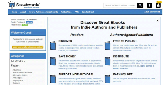 Screenshot of the Smashwords homepage