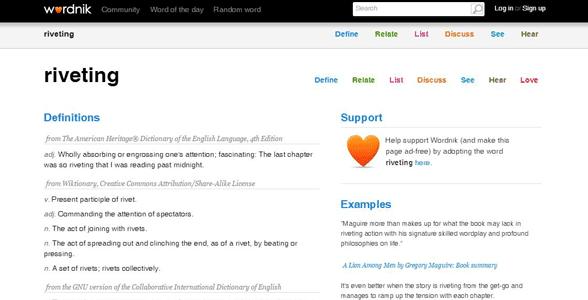 Screenshot of a Wordnik definition