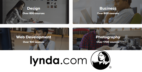 Photo of the Lynda.com logo and a screenshot of the homepage