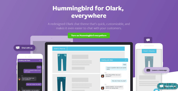 Screenshot of Olark's Hummingbird page