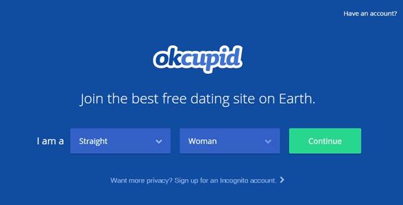 Screenshot of OkCupid's homepage