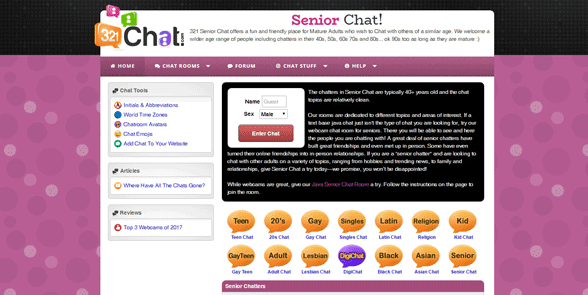 Screenshot of the 321Chat senior page