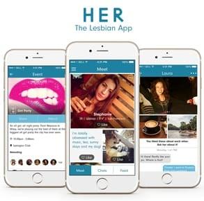Screenshots of the HER app