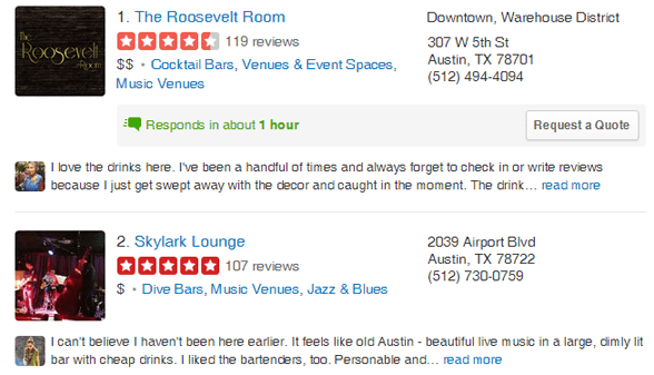 Screenshot of Yelp's reviews page