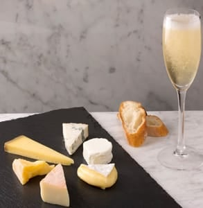 Photo of cheese and champagne