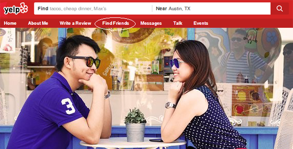 Photo of couple at a cafe and screenshot of the Yelp toolbar