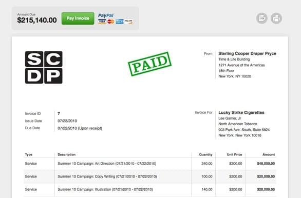 Screenshot of a Harvest invoice