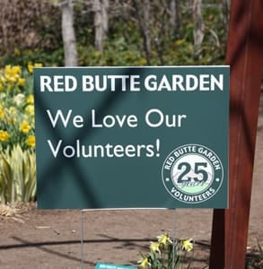 Photo of a Red Butte Garden sign thanking volunteers