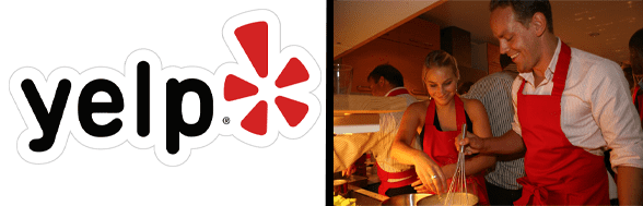 Photo of the Yelp logo and a couple on a date