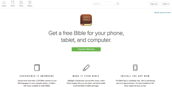 Screenshot of the Bible App homepage