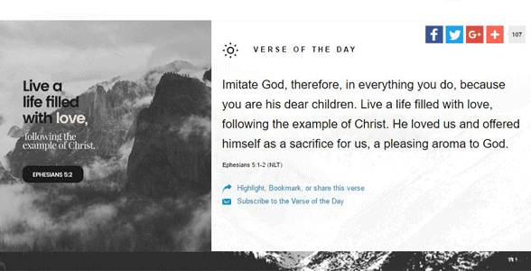 Screenshot of the Bible App's Verse of the Day