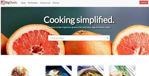Screenshot of BigOven's homepage