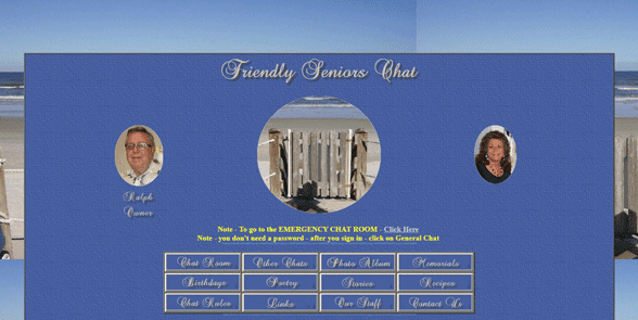 Screenshot of the Friendly Seniors Chat homepage