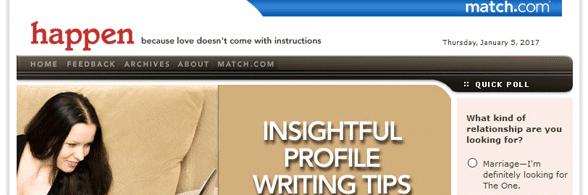 Screenshot of Match's blog