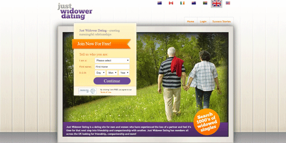 Screenshot of the Just Widow Dating homepage