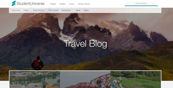 Screenshot of the Student Universe travel blog