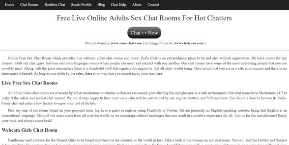 Screenshot of the Zozo Chat homepage