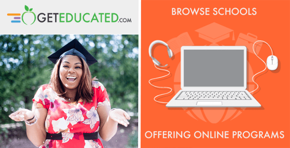 Collage of GetEducated logo, woman in graduation cap, and laptop graphic