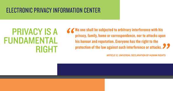 Screenshot of an EPIC privacy rights quote