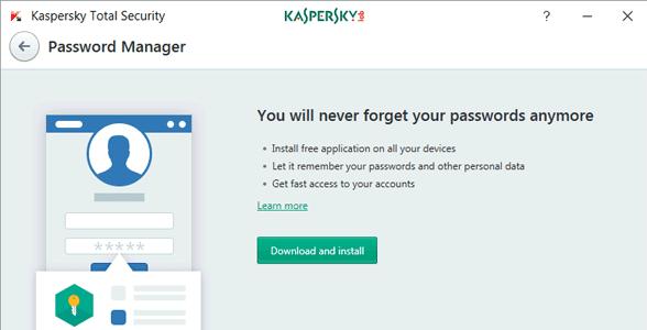 Screenshot of Kaspersky's Password Manager