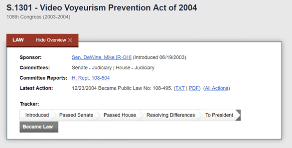 Screenshot of the Video Voyeurism Prevention Act