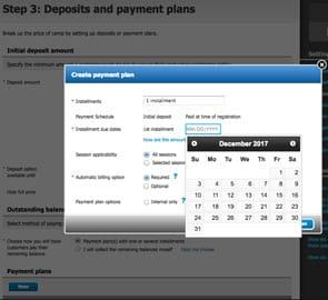 Screenshot of ACTIVE Network's Payment Plan setup