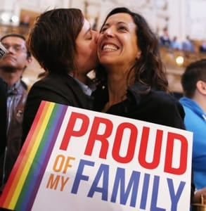 Photo of a lesbian couple at a gay pride rally