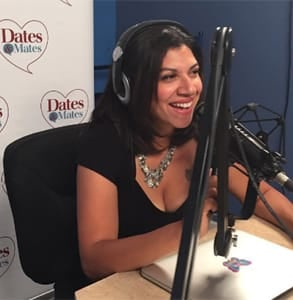 Photo of Damona Hoffman hosting her radio show