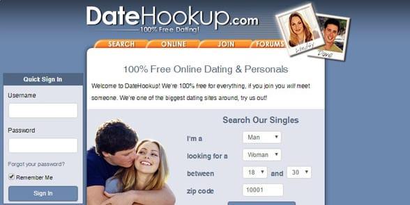 Screenshot of the DateHookup homepage