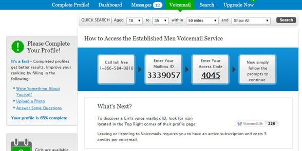 Screenshot of the Established Men interface