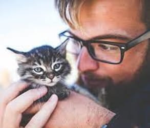 Photo of a guy holding a kitten