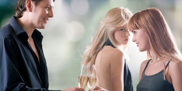 Photo of a man making a woman jealous