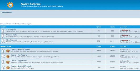 Screenshot of the XnView forums
