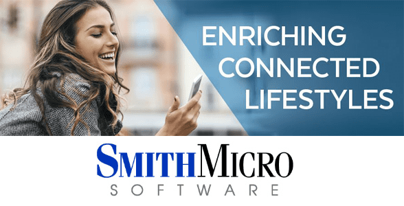 "Collage of woman looking at cell phone, text reading ""Enriching Connected Lifestyles,"" and the Smith Micro logo"