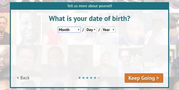 Screenshot of the BBPeopleMeet signup page