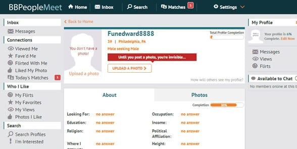 Screenshot of a BBPeopleMeet profile