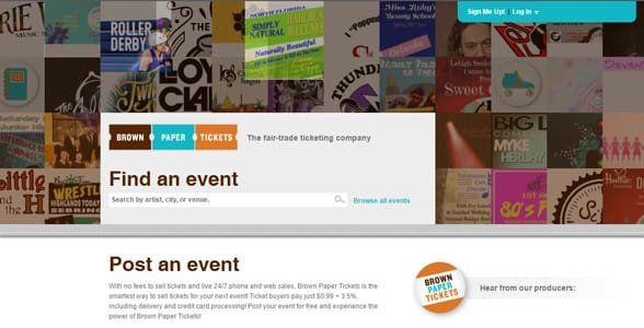 Screenshot of the Brown Paper Tickets homepage