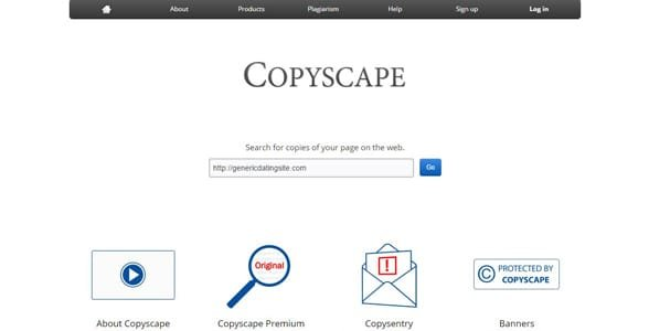 Screenshot of Copyscape's homepage