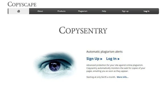 Screenshot of the Copysentry product page