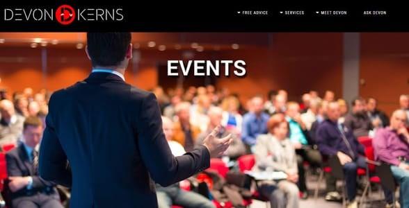 Screenshot of Devon's speaking engagements page