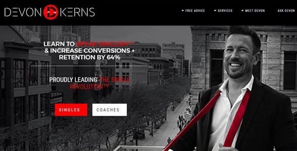 Screenshot of Devon Kerns' website