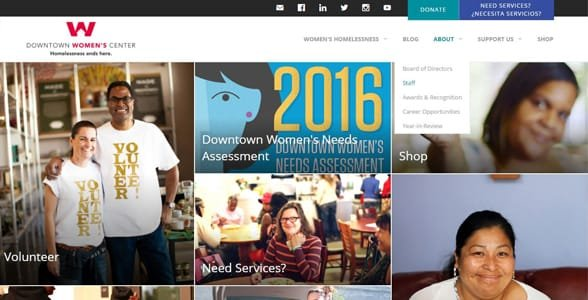 Screenshot of the Downtown Women's Center homepage