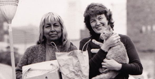 Photo of Rosa Arzola, a homeless woman, and Jill Halverson, Founder of the Downtown Women's Center
