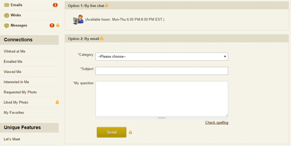 Screenshot of the MillionaireMatch Live Counselor section