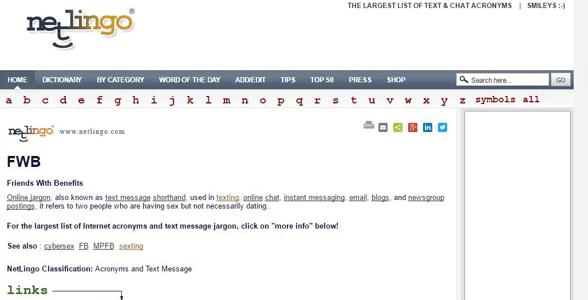 Screenshot of NetLingo's definition of FWB